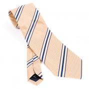 elegant golden-beige tie with navy stripes